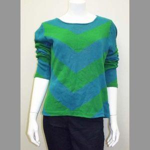 Blue & Green Chevron Patterned Knit Sweater - XL
